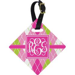 Pink & Green Argyle Diamond Luggage Tag (Personalized)