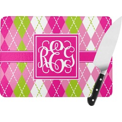 Pink & Green Argyle Rectangular Glass Cutting Board (Personalized)