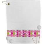 Pink & Green Argyle Golf Towel (Personalized)