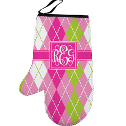 Pink & Green Argyle Left Oven Mitt (Personalized)