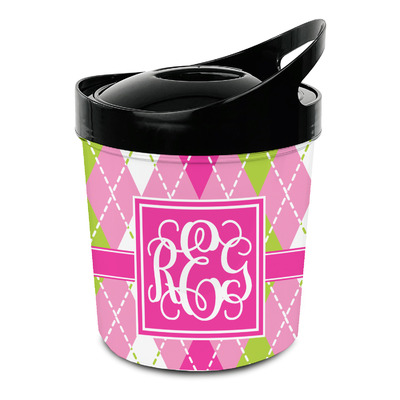 Pink & Green Argyle Plastic Ice Bucket (Personalized)