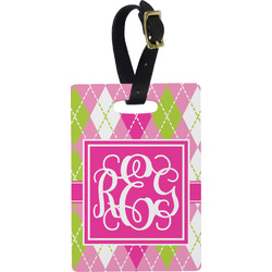 Pink & Green Argyle Rectangular Luggage Tag (Personalized)