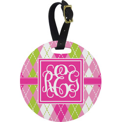 Pink & Green Argyle Round Luggage Tag (Personalized)