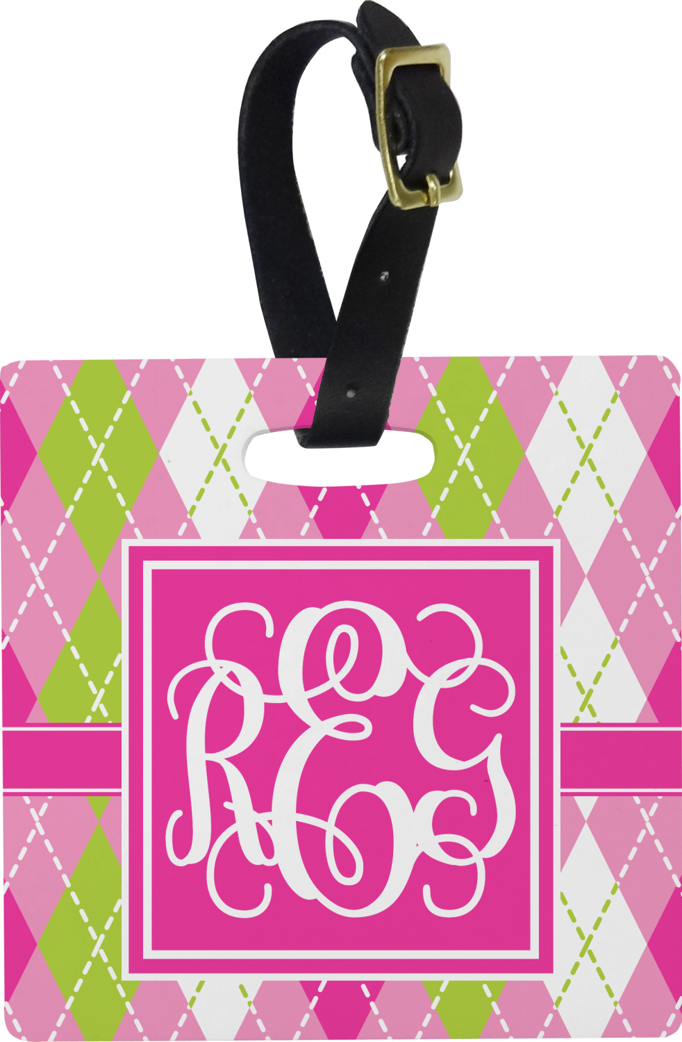 Personalized YouCustomizeIt Pink /& Green Argyle Duffel Bag