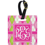 Pink & Green Argyle Square Luggage Tag (Personalized)