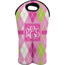 Pink & Green Argyle Wine Tote Bag (2 Bottles) (Personalized)