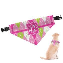 Pink & Green Argyle Dog Bandana (Personalized)