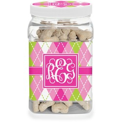 Pink & Green Argyle Pet Treat Jar (Personalized)