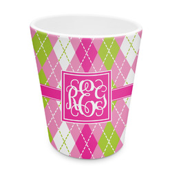 Pink & Green Argyle Plastic Tumbler 6oz (Personalized)