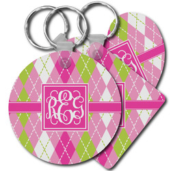 Pink & Green Argyle Plastic Keychains (Personalized)