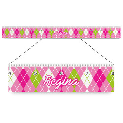 """Pink & Green Argyle Plastic Ruler - 12"""" (Personalized)"""
