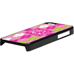 Pink & Green Argyle Plastic iPhone 5C Phone Case (Personalized)