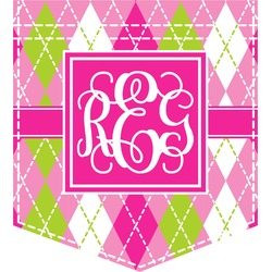 Pink & Green Argyle Iron On Faux Pocket (Personalized)