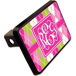 "Pink & Green Argyle Rectangular Trailer Hitch Cover - 2"" (Personalized)"