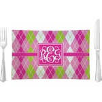 Pink & Green Argyle Glass Rectangular Lunch / Dinner Plate - Single or Set (Personalized)
