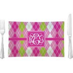 Pink & Green Argyle Rectangular Glass Lunch / Dinner Plate - Single or Set (Personalized)