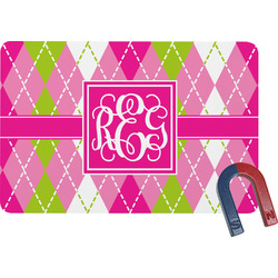 Pink & Green Argyle Rectangular Fridge Magnet (Personalized)