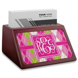 Pink & Green Argyle Red Mahogany Business Card Holder (Personalized)