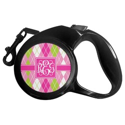 Pink & Green Argyle Retractable Dog Leash (Personalized)
