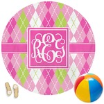 Pink & Green Argyle Round Beach Towel (Personalized)