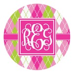 Pink & Green Argyle Round Decal (Personalized)
