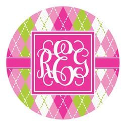 Pink & Green Argyle Round Decal - Custom Size (Personalized)