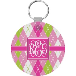 Pink & Green Argyle Round Keychain (Personalized)