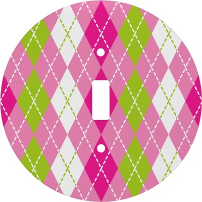 Pink & Green Argyle Round Light Switch Cover (Personalized)