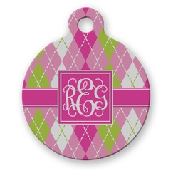 Pink & Green Argyle Round Pet Tag (Personalized)