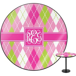 Pink & Green Argyle Round Table (Personalized)