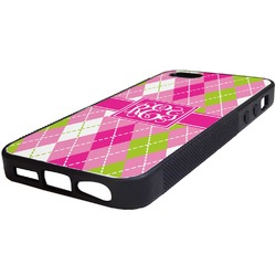 Pink & Green Argyle Rubber iPhone 5/5S Phone Case (Personalized)