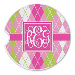 Pink & Green Argyle Sandstone Car Coasters (Personalized)
