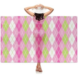 Pink & Green Argyle Sheer Sarong (Personalized)