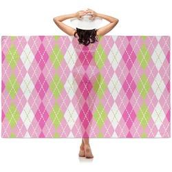 Pink & Green Argyle Sheer Sarong (Personalized)