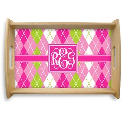 Pink & Green Argyle Natural Wooden Tray (Personalized)