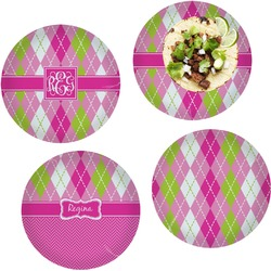 """Pink & Green Argyle Set of 4 Glass Lunch / Dinner Plate 10"""" (Personalized)"""