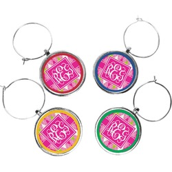 Pink & Green Argyle Wine Charms (Set of 4) (Personalized)