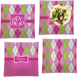 """Pink & Green Argyle Set of 4 Glass Square Lunch / Dinner Plate 9.5"""" (Personalized)"""