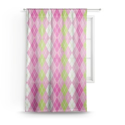 "Pink & Green Argyle Sheer Curtain - 50""x84"" (Personalized)"