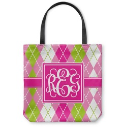 """Pink & Green Argyle Canvas Tote Bag - Large - 18""""x18"""" (Personalized)"""