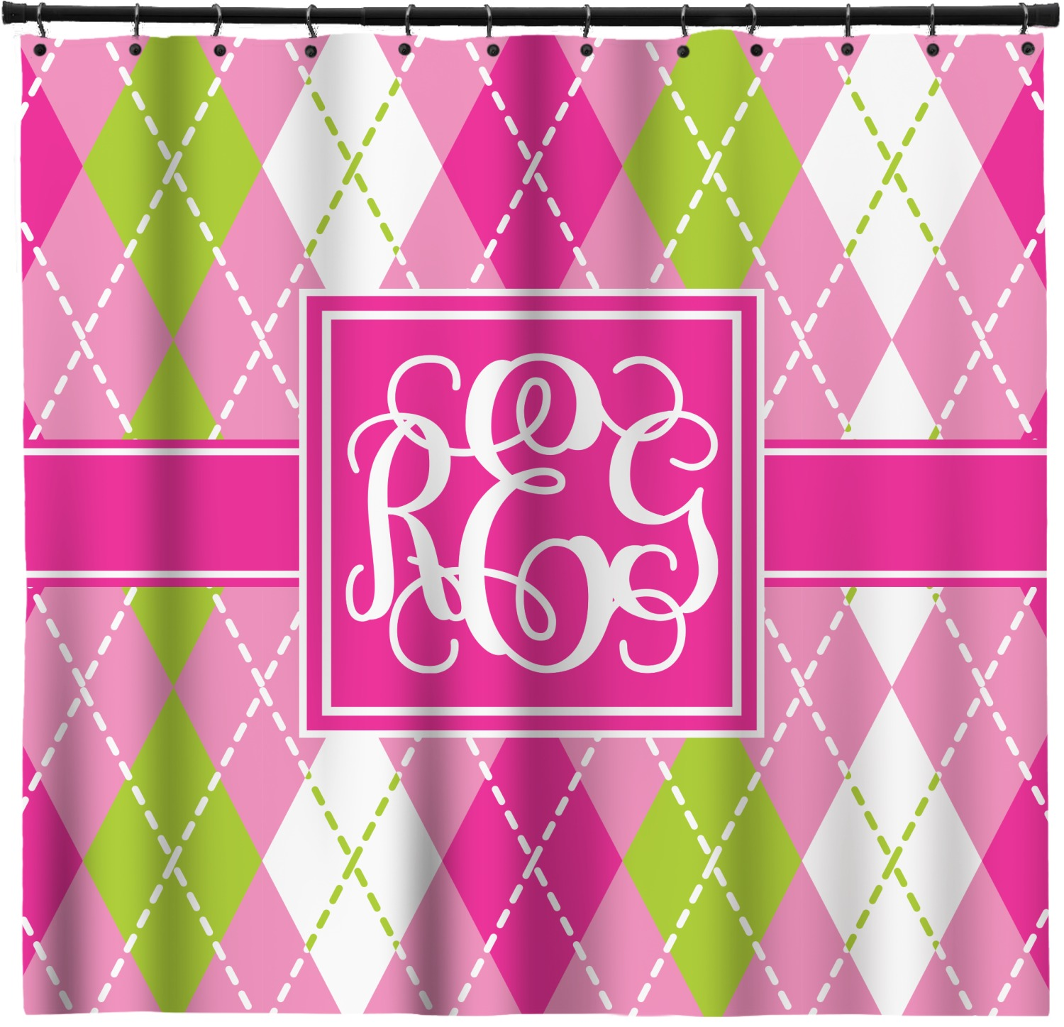 Pink U0026 Green Argyle Shower Curtain (Personalized)