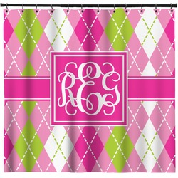 Pink & Green Argyle Shower Curtain (Personalized)