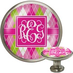 Pink & Green Argyle Cabinet Knob (Silver) (Personalized)