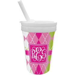 Pink & Green Argyle Sippy Cup with Straw (Personalized)