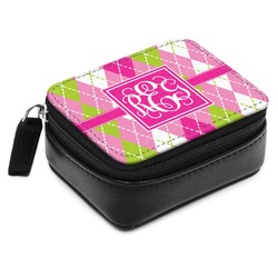 Pink & Green Argyle Small Leatherette Travel Pill Case (Personalized)