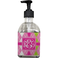 Pink & Green Argyle Soap/Lotion Dispenser (Glass) (Personalized)