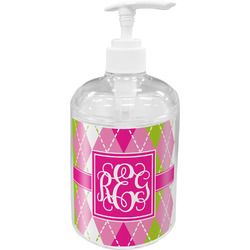 Pink & Green Argyle Soap / Lotion Dispenser (Personalized)