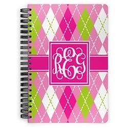 Pink & Green Argyle Spiral Bound Notebook (Personalized)