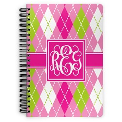 Pink & Green Argyle Spiral Notebook (Personalized)