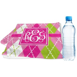 Pink & Green Argyle Sports Towel (Personalized)